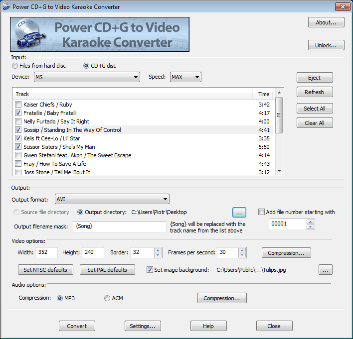 Click to view Power CD+G to Video Karaoke Converter screenshots